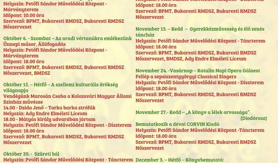 A Bukaresti Petőfi Művelődési Társaság Programfüzete 2018 szeptember-december