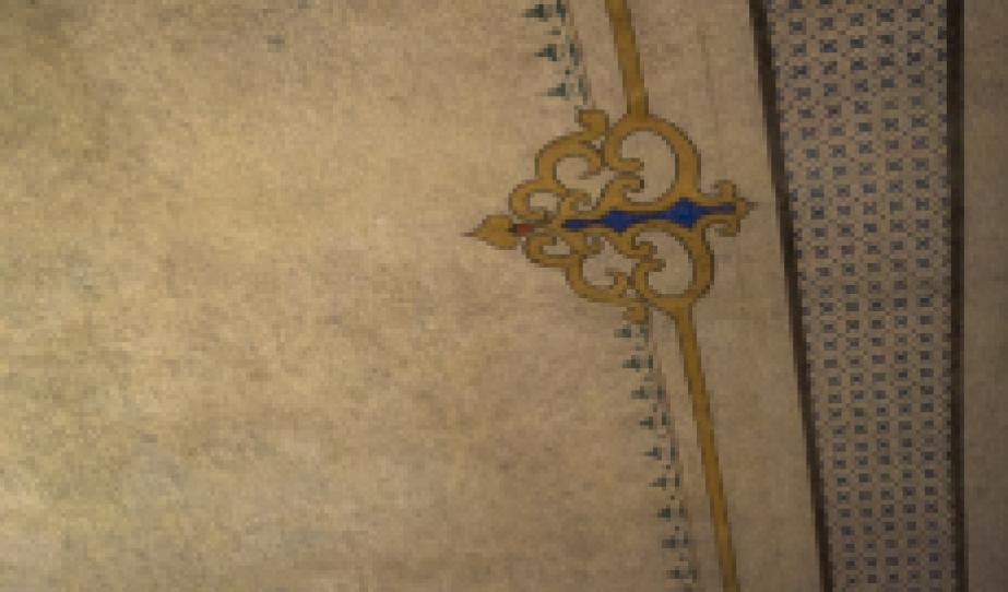 Restaurált mennyezetfreskó a földszinti teremben