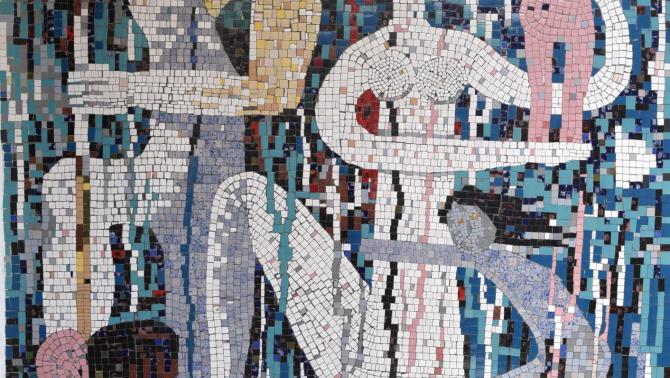 Tellmann József mozaikja a lupényi házának homlokzatán