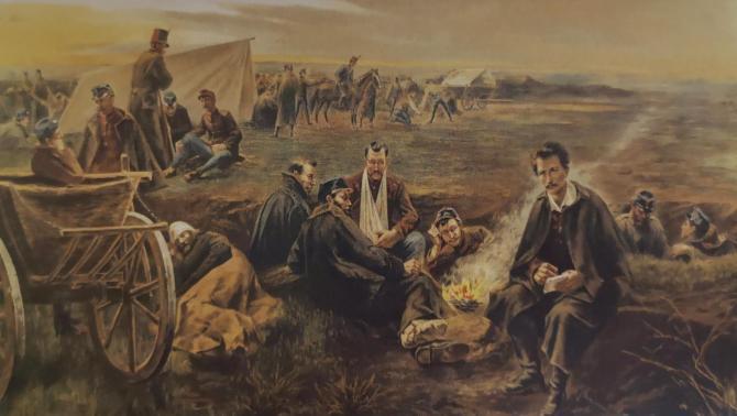 Petőfi a táborban, 1899 körül, nyomat
